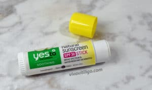 """Yes to Cucumbers """"natural"""" SPF 30 Sunscreen stick. It smells a little too cucumbery due to added fragrance."""