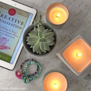 Stress reduction for adrenal fatigue, PCOS, hypothyroidism and chronic pain: non-toxic small batch candles from Wall's Wonders Etsy shop and the book Creative Visualization