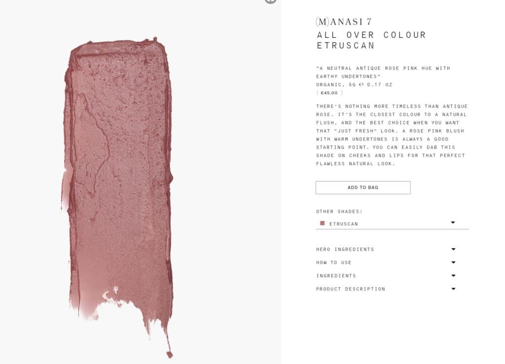 Gorgeous product photography and rosy swatch of Etruscan from Manasi 7 website - All Over Color Cream Blush