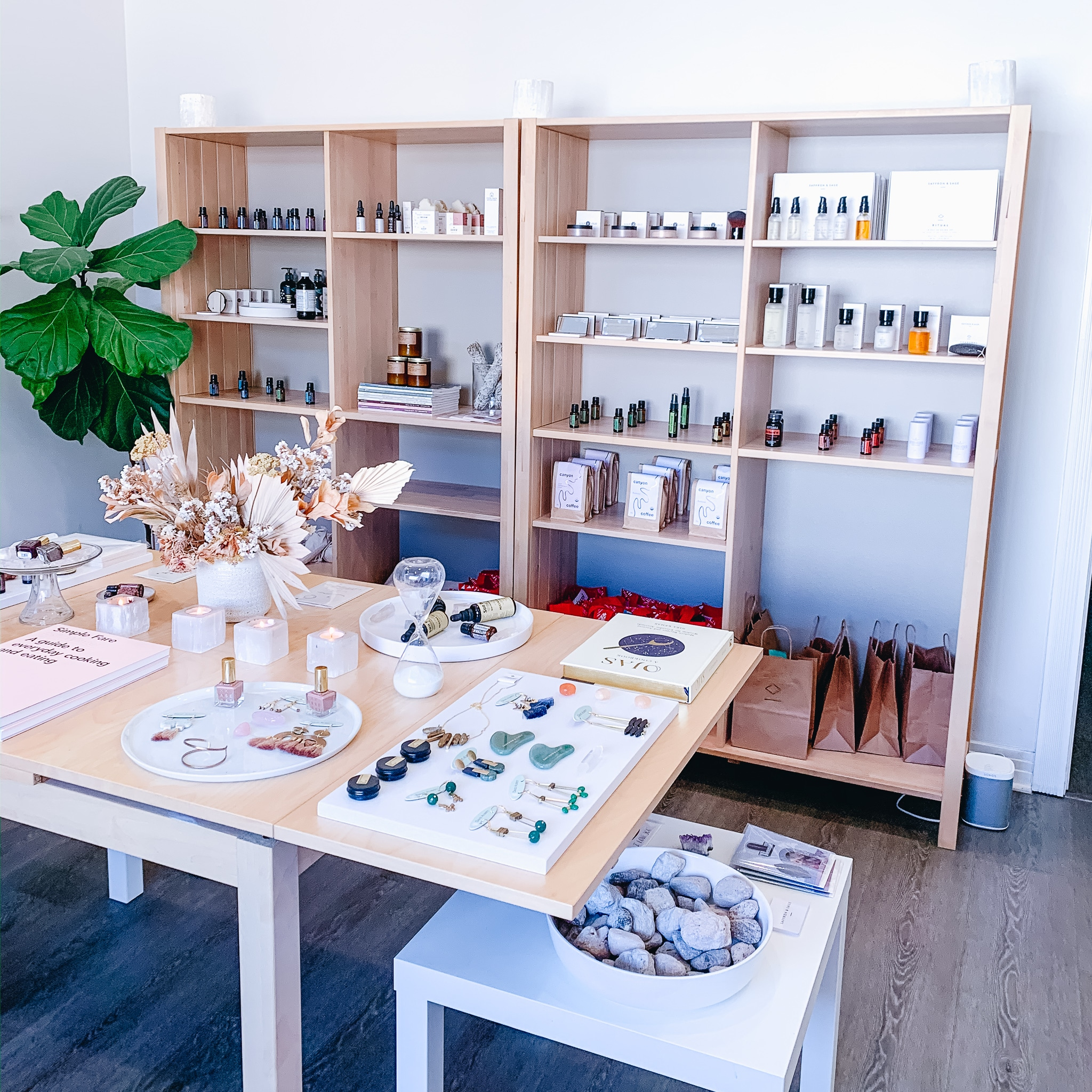 Saffron & Sage San Diego Wellness Boutique inside the yoga and wellness studio